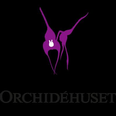 Orchidehusets logotyp och Masdevallia-illustration
